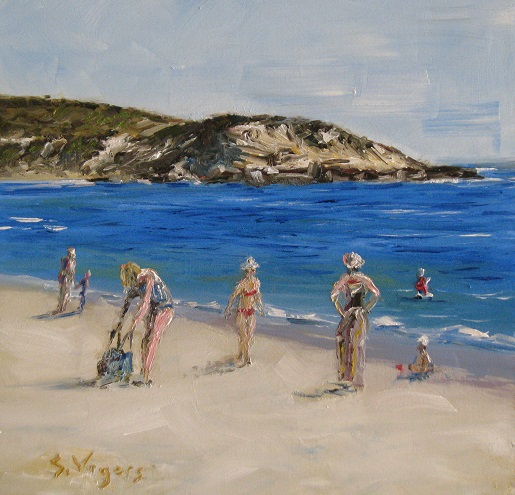 Bathers at Prevelly 200x200mm Oil on Board $250 2015