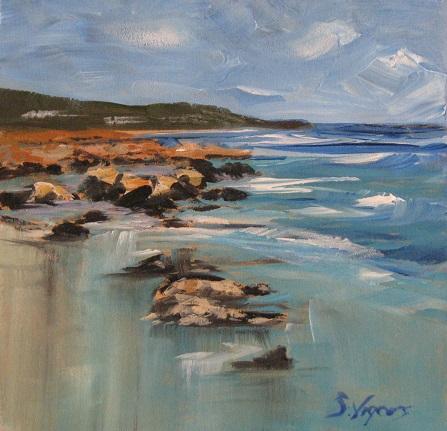 Eagle Bay Rocks 180x180mm Acrylic on Board $225 2015