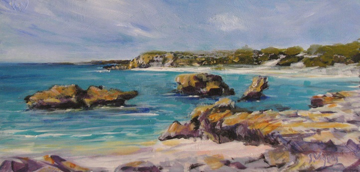 Elizabeth Bay Rottnest 200x400mm Acrylic on Board $350