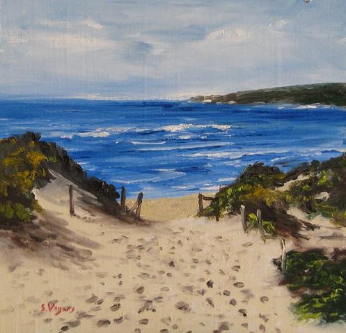 Footprints to Yallingup Beach 200x200mm Oil on Board $250 2015