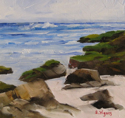 Moss Rocks at Redgate 180x180mm Oil on Board $225 2015