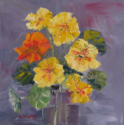 Nasturtiums 2 (sleft) 250x250mm Oil on Board $300 2015