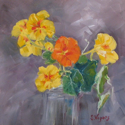 Nasturtiums 250x250 Oil on Board $300 2015