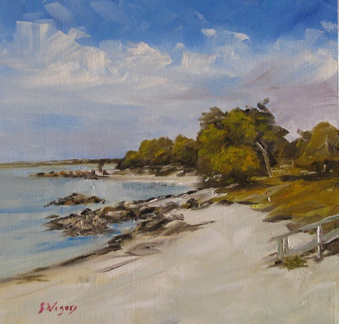 Old Dunsborough Beach 200x200mm Oil on Board $250 2015
