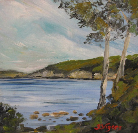 View to Kingston Bay Tasmania 180x180mm Acrylic on Board $225 2015